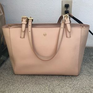 Pre-loved Tory Burch Small Tote in Light Oak Pink